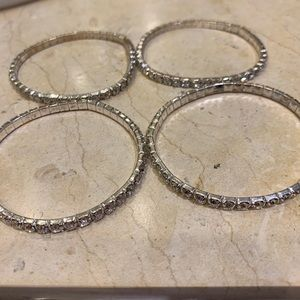 Elastic Diamond Bracelets - Set of 4